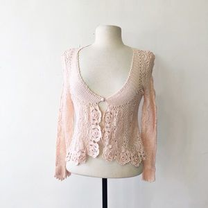 Anthropologie Moth Pink Crochet Lace Crop Cardigan